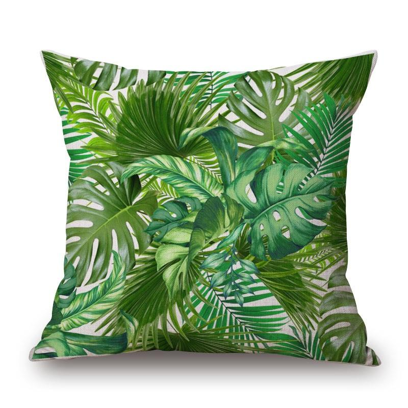 Green Leaf Tropical Plant Flamingo Birds Pillow Cases