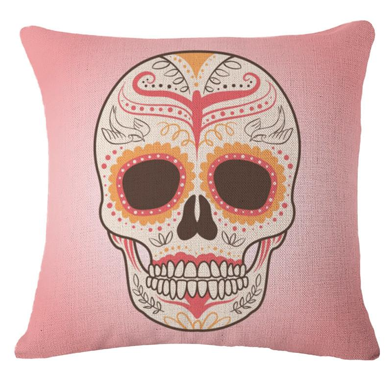 Cushion Cover 1 Punk Bohemia Paisley Skull Cushion Cover Cotton Linen Size 40*40