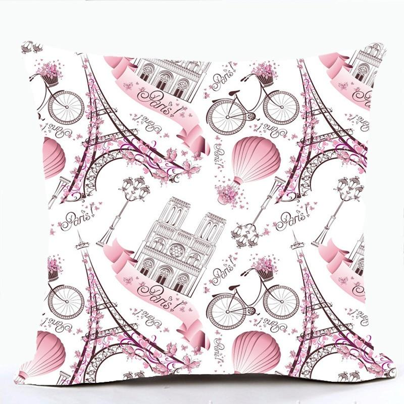 Cushion Cover Beige Polyester Eiffel Tower Paris Cushion Covers