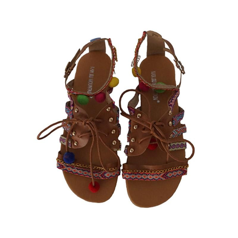 4 Boho Sandals Gladiator Roman Embroidered Shoes