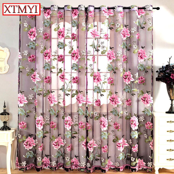 Drapes Floral Tulle Curtains Window Treatments – Inspirational ...