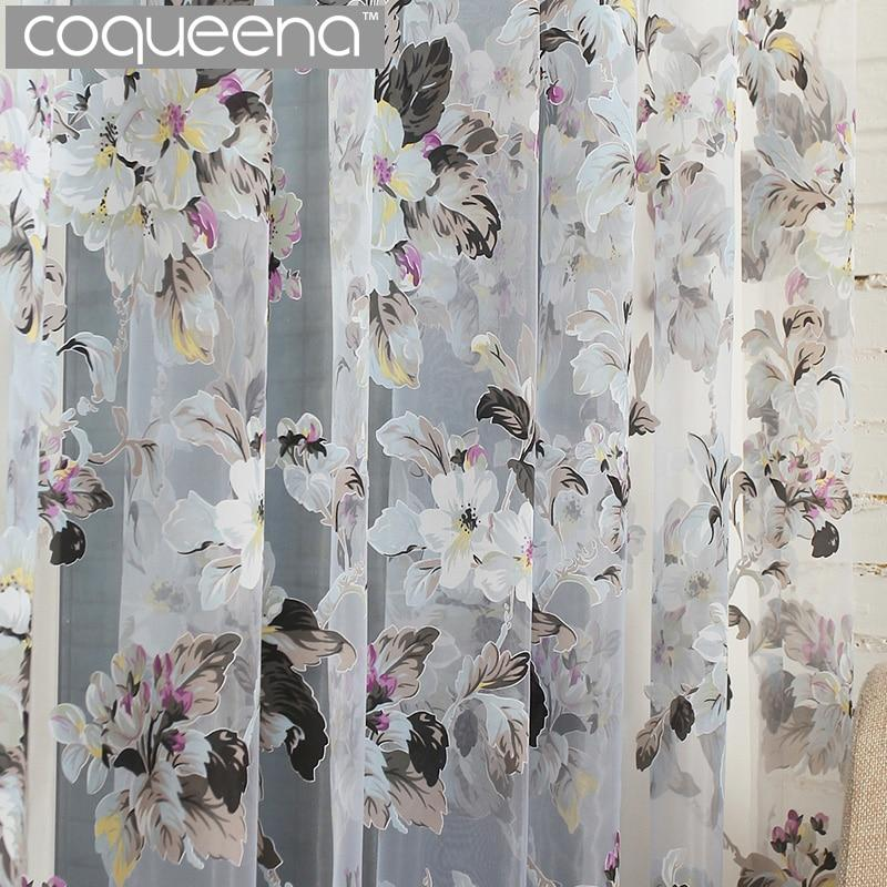 Floral Voile Sheer Tulle Curtains for Home