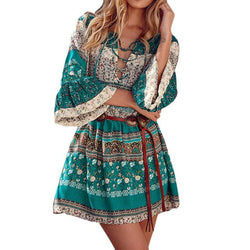 Bohemian Printed Flare Sleeve Dress V-Neck Three Quarter Sleeve