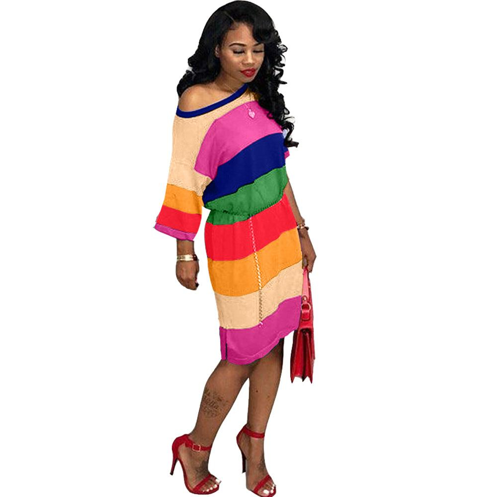 Dresses as pciture / S Rainbow Striped Fashion Dresses