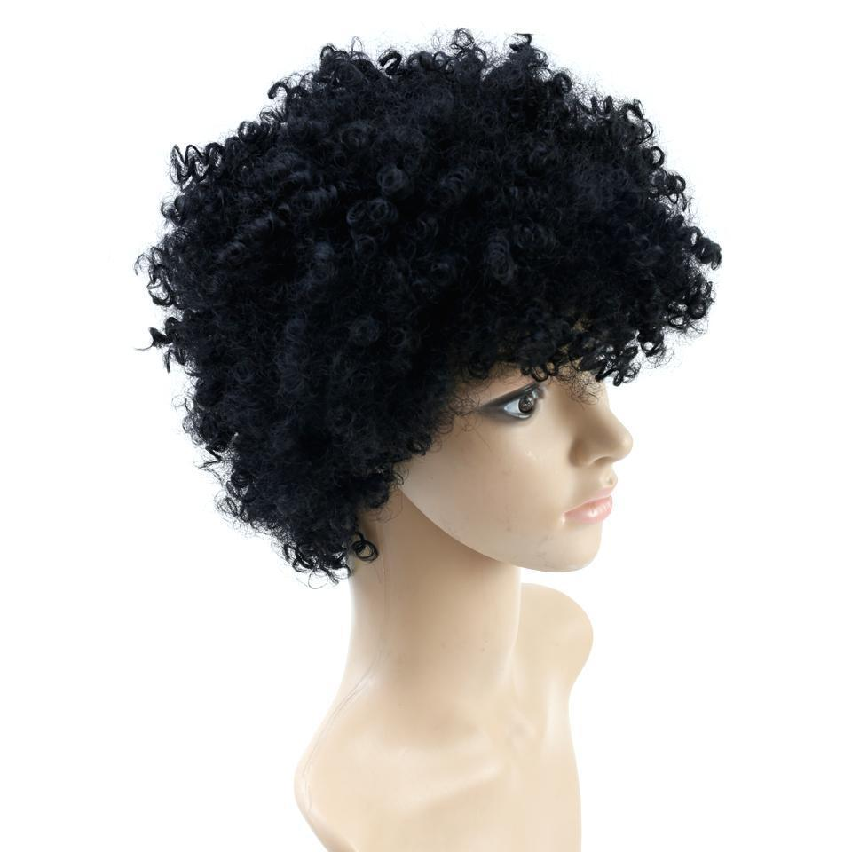 Afro Curly Short Black Wigs Heat Resistant Synthetic Hair