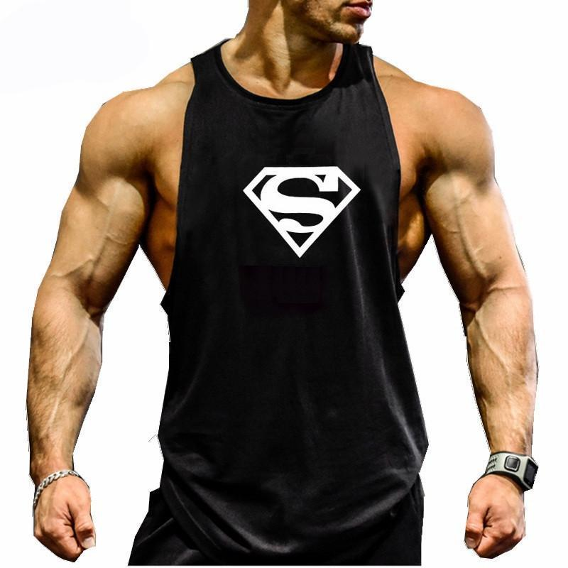 skull gray / M Bodybuilding Fitness Men Tank Top Undershirt