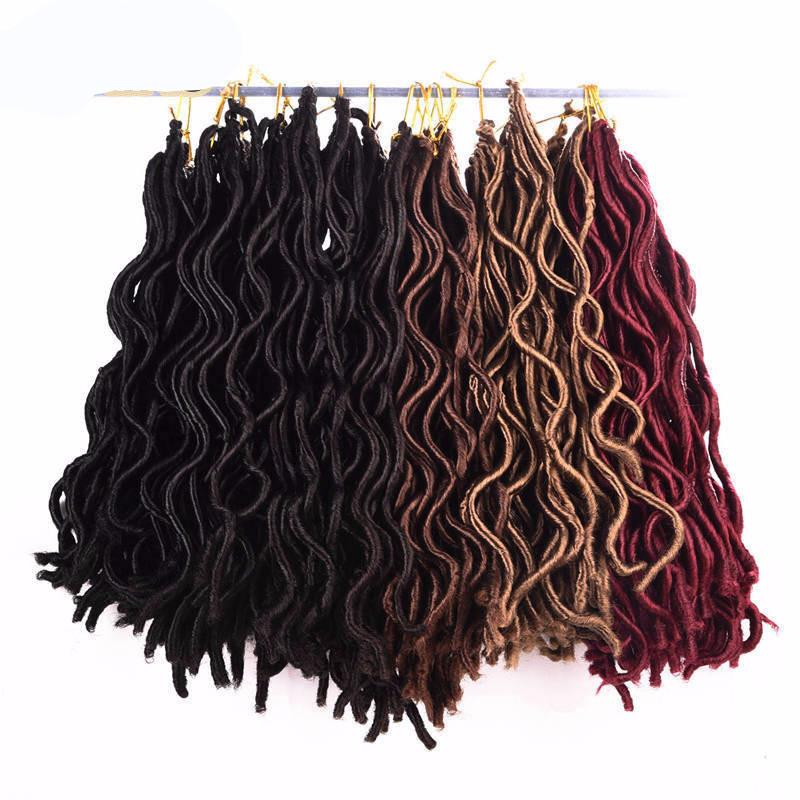 Faux Locs Curly 24 Roots Crochet Braids Hair Extensions Pure Color 3