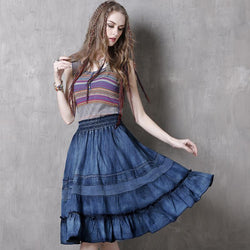 Boho New Denim Skirt  Lace Patchwork A-line Pleated