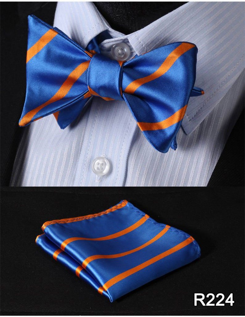 Ties & Handkerchiefs R223 Striped Silk Jacquard Woven Men Bow tie Set
