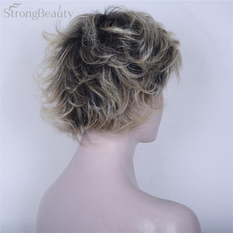 Blonde Short Body Wave Wig Ombre Black to Blonde Wigs Synthetic Hair