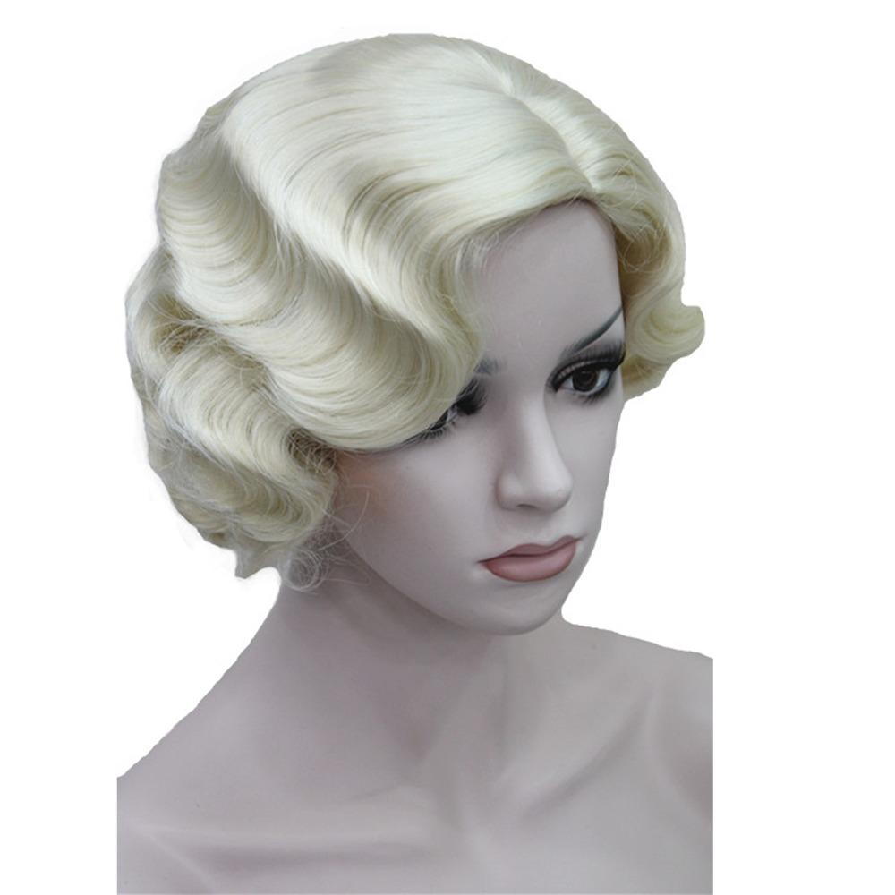 Retro Synthetic Wig  Flapper Hairstyles  Finger Wave Wigs
