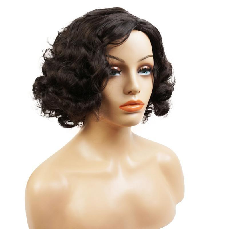 S290 1B Short Curly  Varied Color Full Synthetic Wig