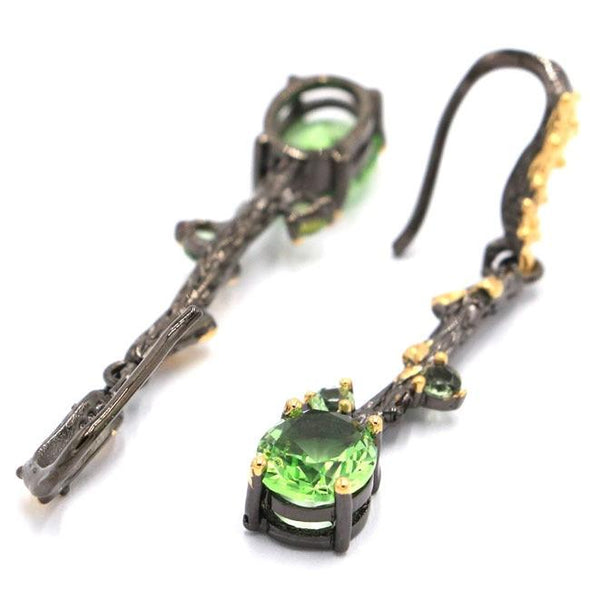Drop Earrings Antique Vintage Green Tsavorite Garnet Earrings