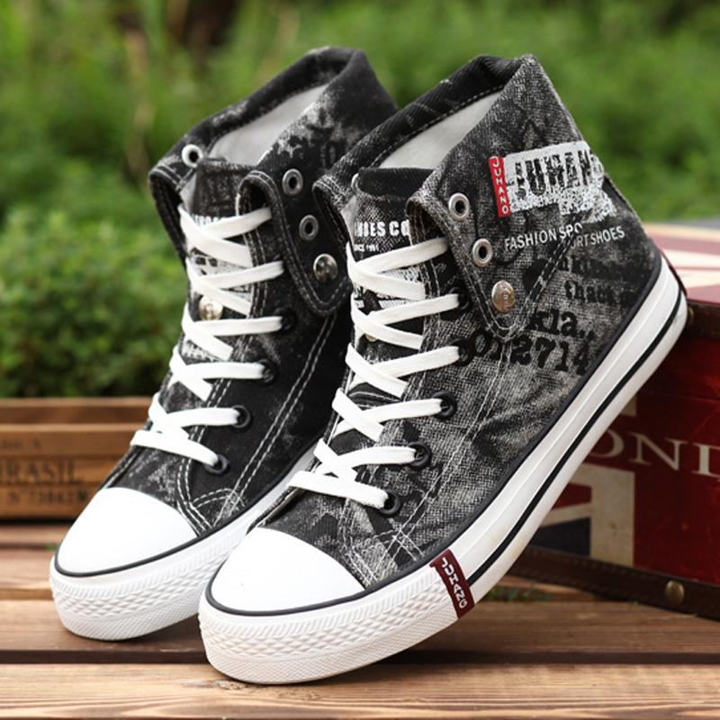 Black / 7 Denim Canvas Male Breathable High Top Sneakers