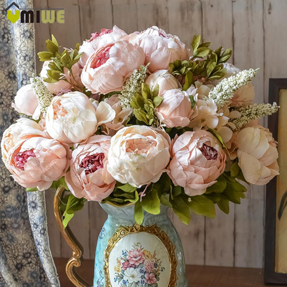 Light Pink Artificial Peony Silk Decorative Party Flowers For Wedding Office Garden Decor