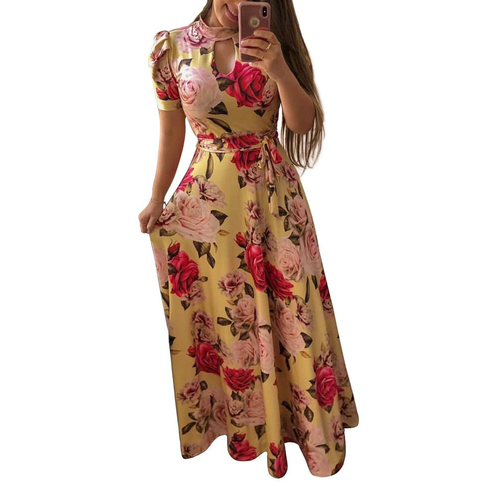 1 / S Beautiful Floral Prints on Retro Style Maxi Dress
