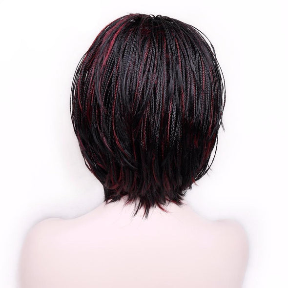 Synthetic None-Lace Wigs Short Bob Wig With Bangs Braided Box Braids Natural Color