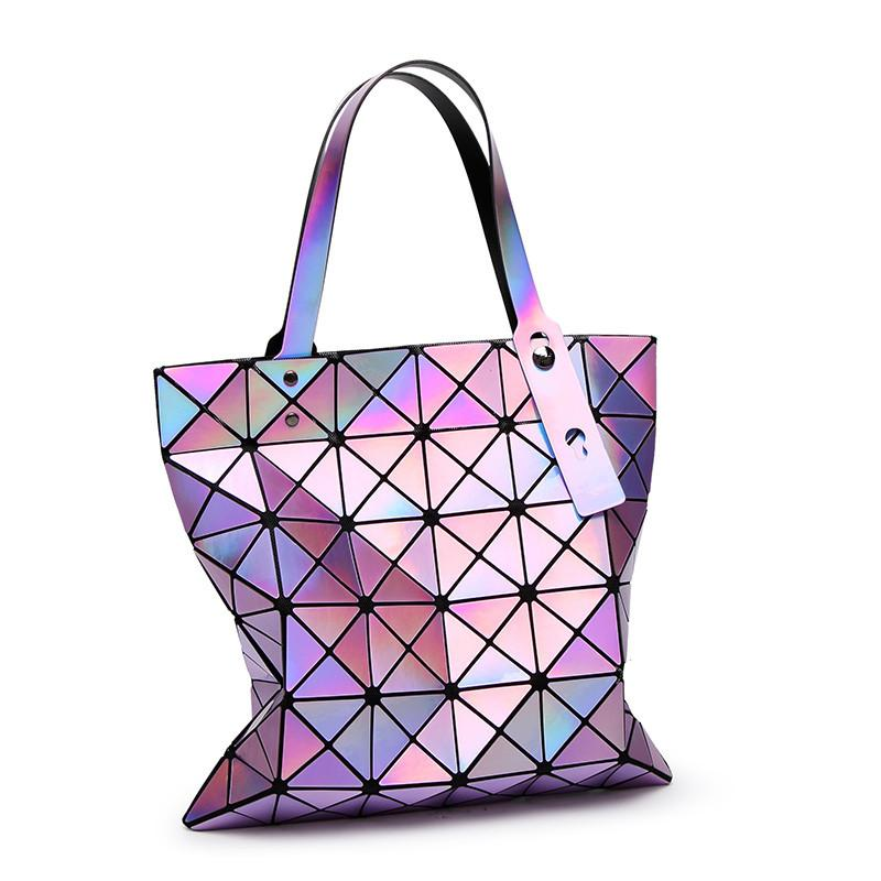 Laser Hologram Luxury Handbags Ladies Bags Designer Geometric  Design