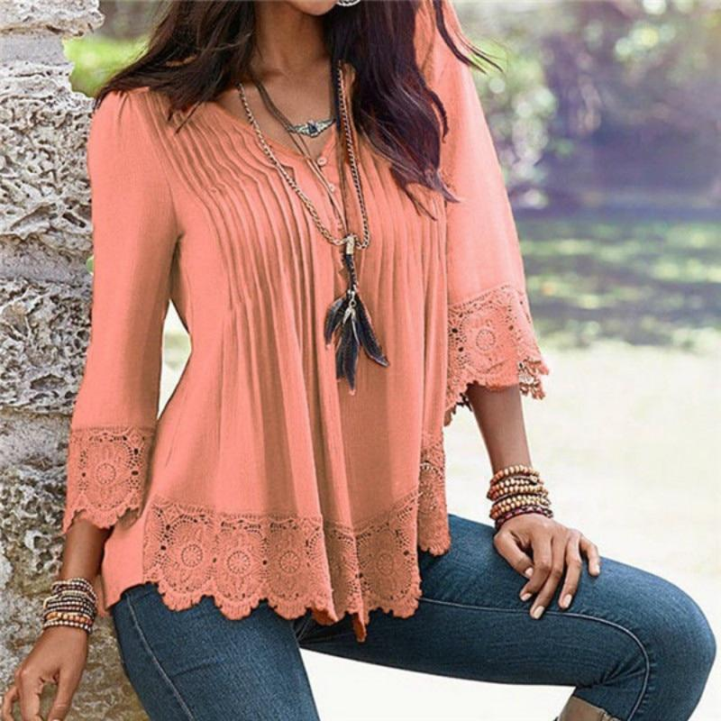 Lace Blouses  V-Neck  Ladies Shirt Green / S