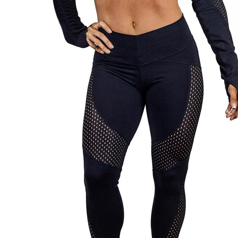 Yoga Pants Fitness Sport High Waist Sexy Patchwork Running Pants Black / S
