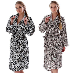 Bathrobe Leopard Coral Fleece Warm