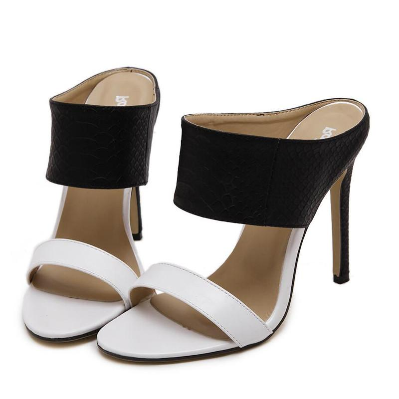 4 Ladies Sandals High Heels Black and White Zapatos