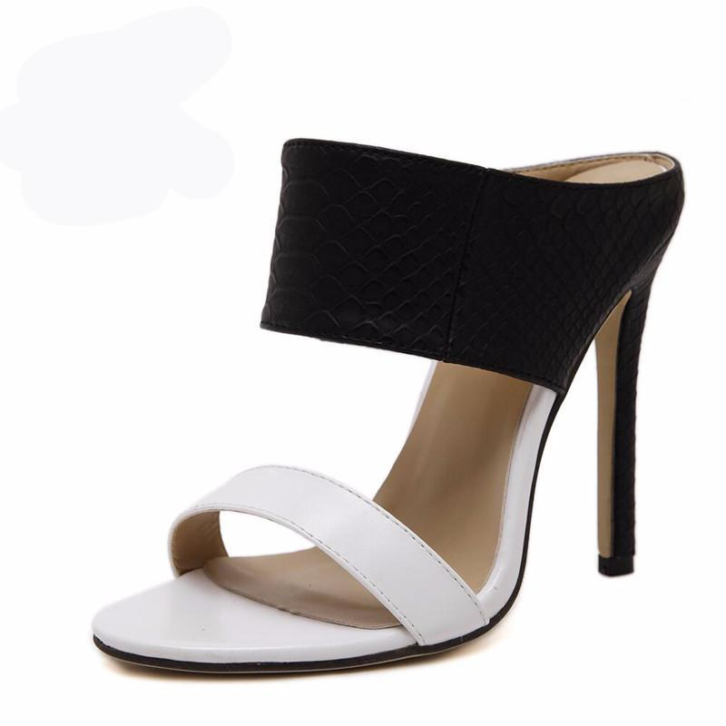 Ladies Sandals High Heels Black and White Zapatos