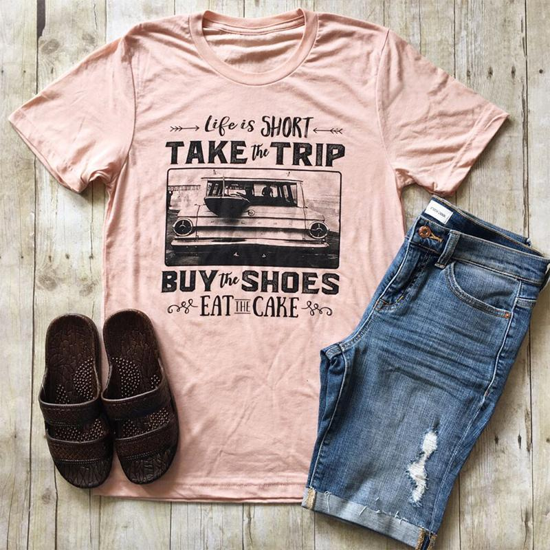 T-Shirts Short Sleeve Life Is Short  Tee T Shirt pink / S