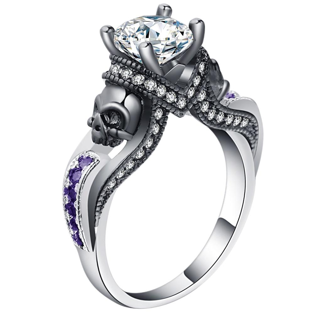 Birthstone Skull  Ring Jewelry