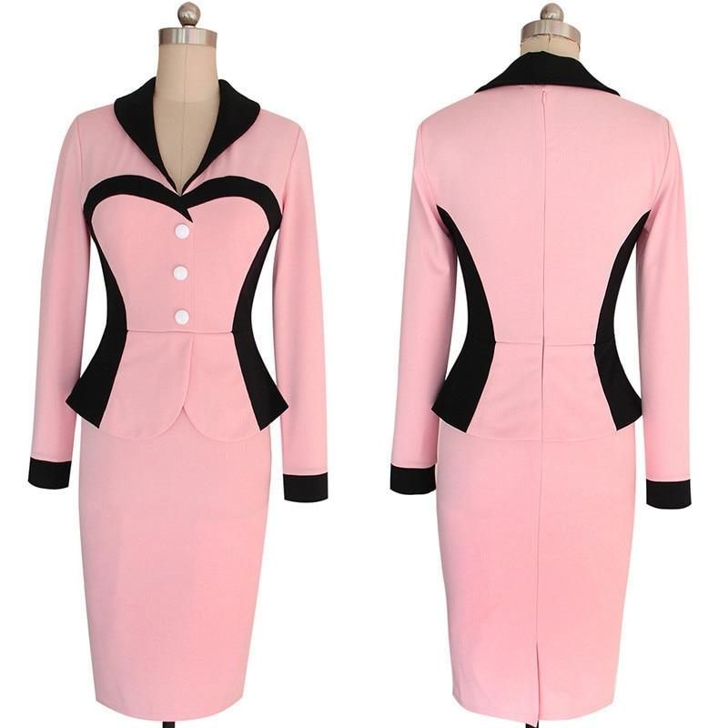 Elegant One Piece Dress Suit Office Dress