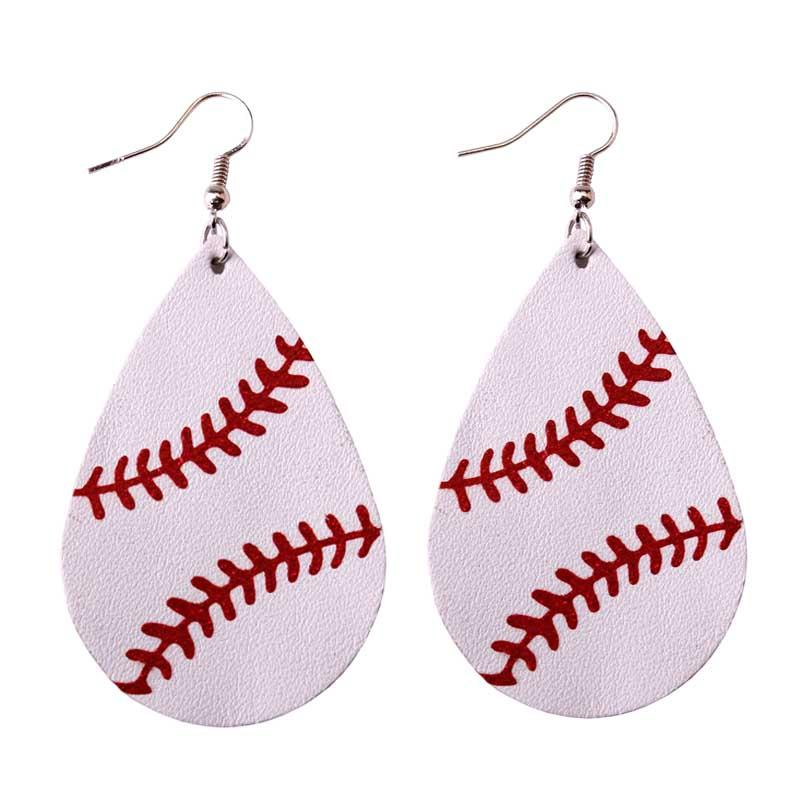 E3552 White Baseball Leather Earrings  for Women