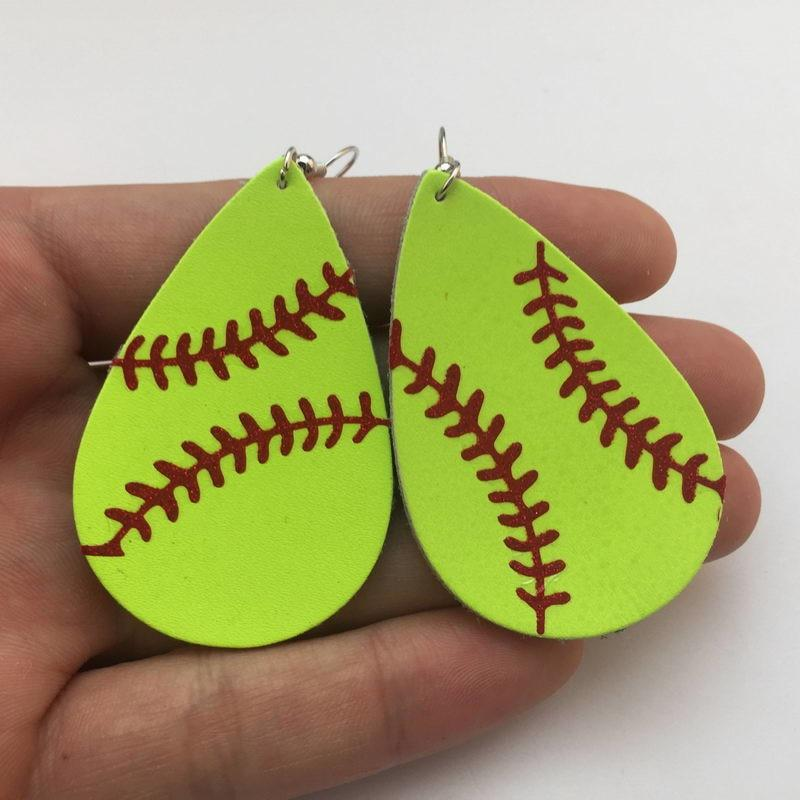 Baseball Leather Earrings  for Women E3552 White