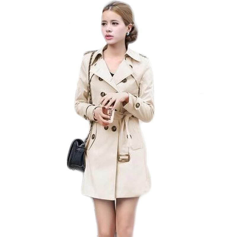 Trench black / S Women's Double Breasted Spring Trench Coat