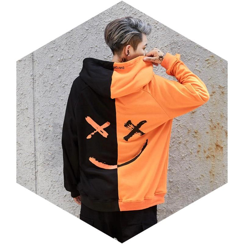 Hoodies & Sweatshirts Color Block Patchwork (Smile)  Hoodie Hip Hop Clothing white / S