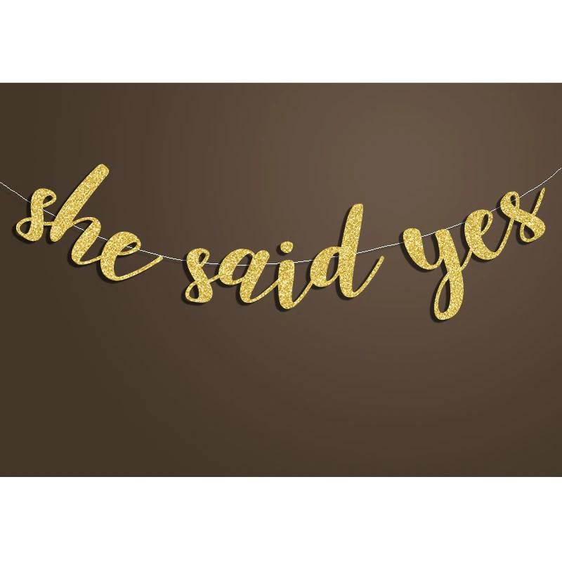 "Banners, Streamers & Confetti Engagement ""She Said Yes"" Banner Bridal Shower Sign Backdrop Blue Glitter"