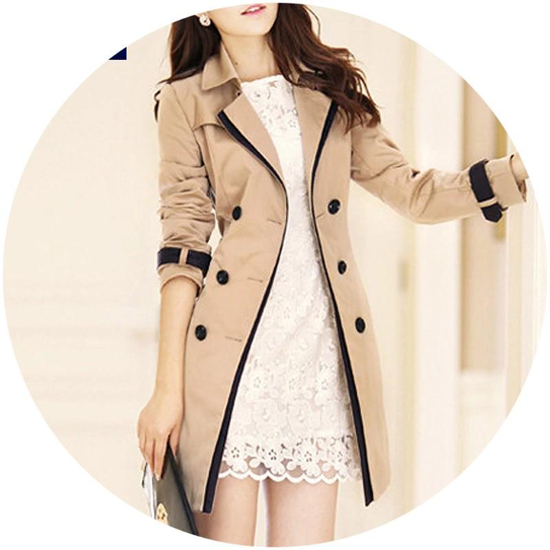 Trench Black / S Ladies Trench Coat Turn-down Collar Double Breasted Outerwear