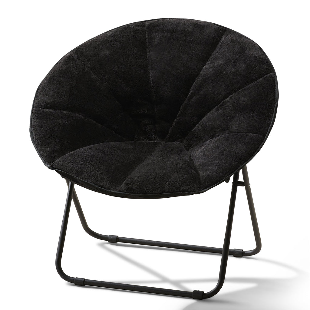 Saucer Chairs Actual Color Black Faux Fur Plush Saucer Folding Chair by Mainstays