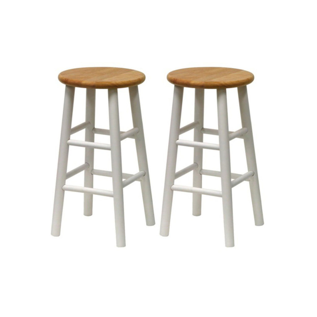 "Winsome Wood Tabby 24"" Beveled Seat Stools, Set of 2"