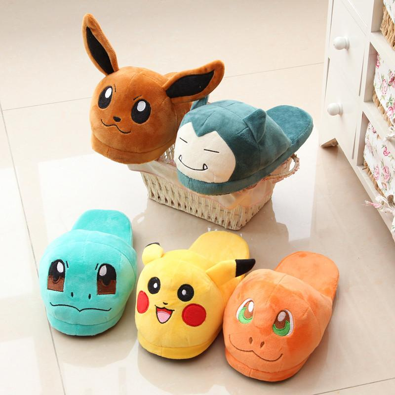 Anime Cartoon Pokemon Slippers  Plush Shoes Home