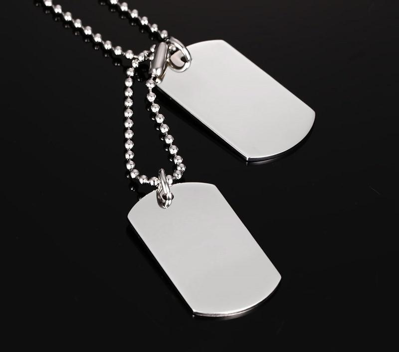 Dog Tag Necklace Classical Fashion Men  Polished
