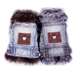 Denim Dog Clothes Fur Collar Dog Coat Thick Warm Pet Clothes