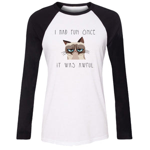 iDzn Women's Casusl T-shirt Funny Grumpy Cat Quotes I Had Fun Once It Was Awful Long Sleeve Girl's cotton T shirt Lady Tee Tops