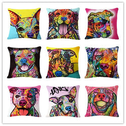 Cartoon Style Decor Cotton Linen Cushion Multicolor Dog Pattern Print Sofa Throw Pillow Home Decor Square Cojines