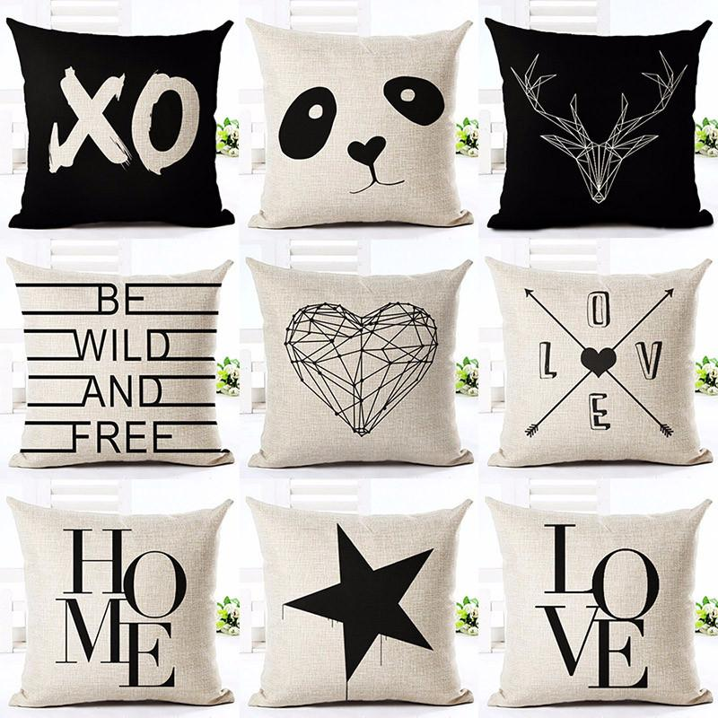 1 / without pillow inner Printed Cotton Linen Pillowcase Decorative Pillows Cushion Use For Home