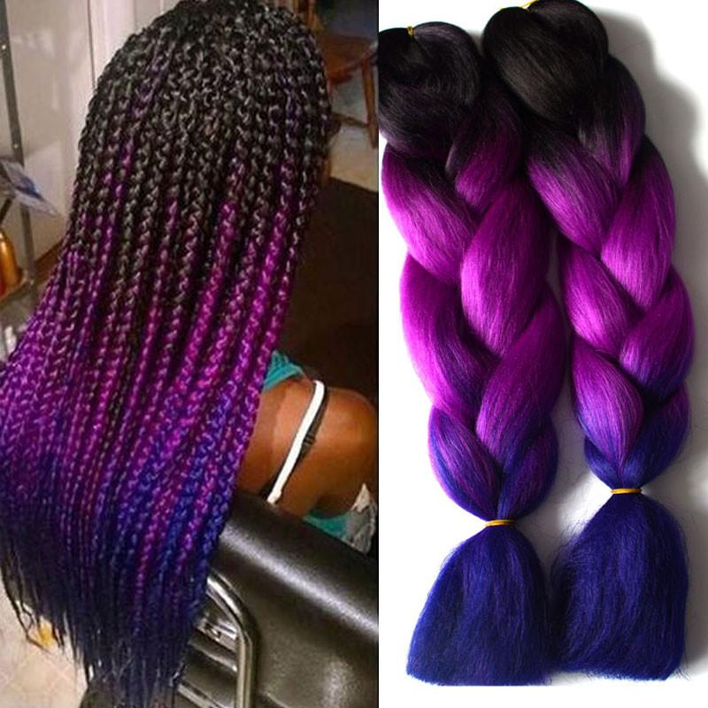 6inches / 9Pcs Blue Ombre Kanekalon Braiding Hair 1-10Pcs Ombre Three Tone Braiding Hair 24Inch
