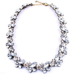 Luxury Vintage Crystal Flower Statement Necklace Jewelry For Women Ladies