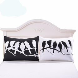Black and White Pillowcase Plain Printed Bedroom Decor