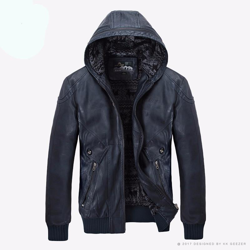 Male  Hooded Long Warm  Leather Jackets Coats