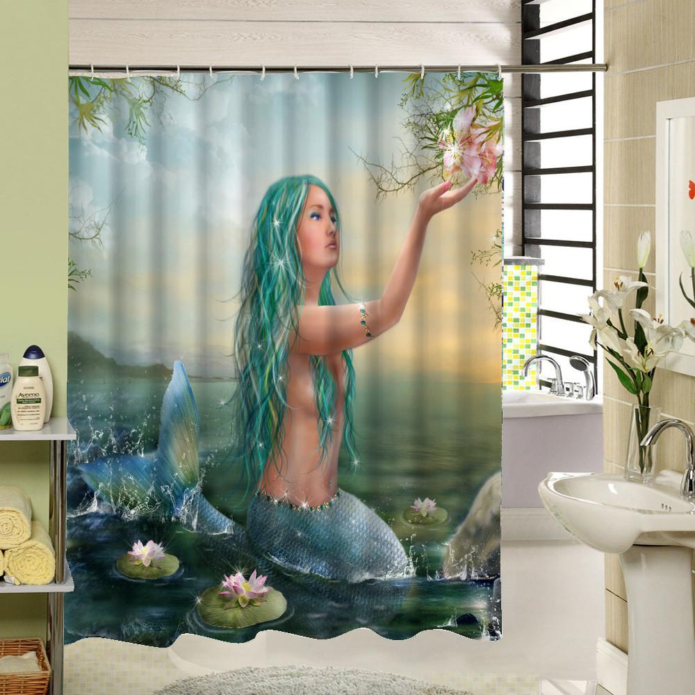 Y294 / 90X180CM Mermaid Waterproof Shower Curtain 3D Print Bathroom Accessories