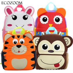 Children  Animal Design Backpack Toddler Kid Neoprene School Bags Kindergarten Cartoon Comfortable Bag Giraffe Monkey Owl
